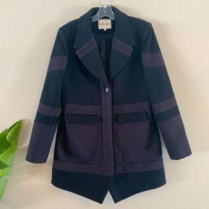 Reiss Black Gray Patchwork Chevron Wool Coat L